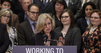 Alberta Premier Rachel Notley, speaks about bringing forward new legislation giving Alberta the power to control oil and gas resources, in Edmonton Alta, on Monday April 16, 2018.THE CANADIAN PRESS/Jason Franson